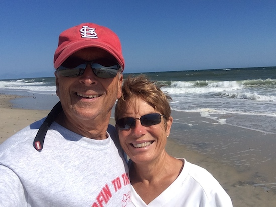Selfie on our first beach walk at Oregon Inlet.... notice how crowded it is!