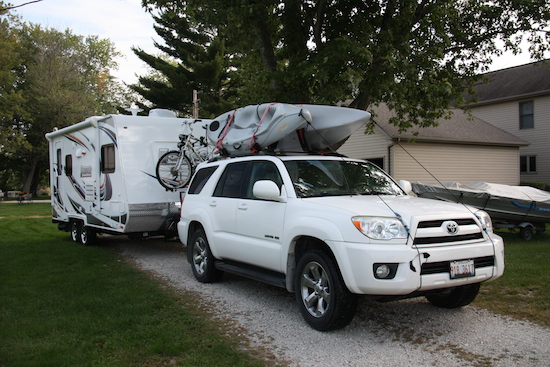 Loaded up with the kayaks and bikes and almost ready (need the extended mirrors) for new adventures! Look out world, here we come!