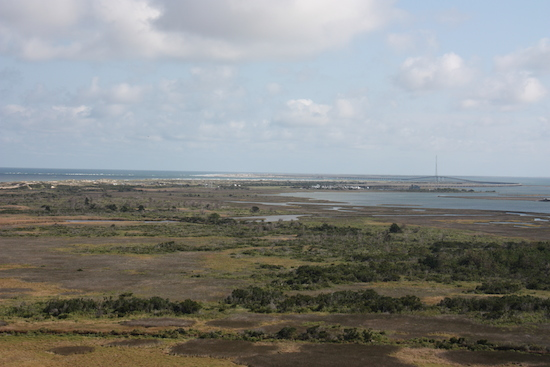 The view looking south toward Cape Hatteras Lighthouse toward Oregon Inlet where the first two Bodie Island Lights stood.