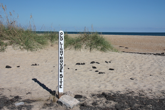 There is a marker showing where the old lighthouse was before the 1999 move. Look just inshore from the abandoned pier.