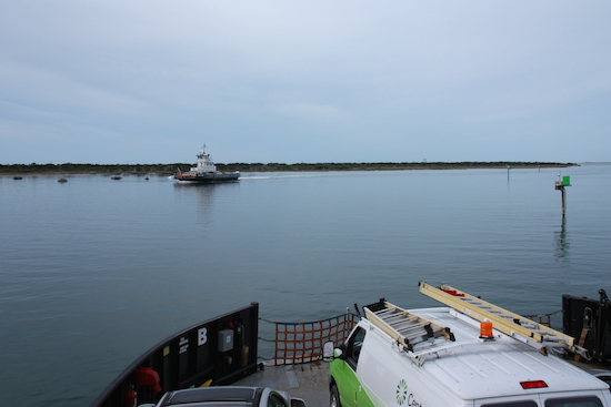 We passed a ferry returning from Ocracoke in the twisty windy narrow channel. But we learned at one point the channel wasn't wide enough to allow two ferries to pass, so we were lucky!