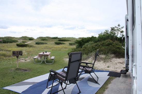 The view from our front porch at NC Outer Banks Ocracoke Park campground. Just over those dunes is the ocean, I love hearing waves on the beach - especially at night with the windows open!