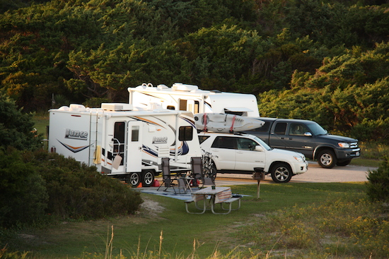Our dueling Lance Campers in the Ocracoke Campground
