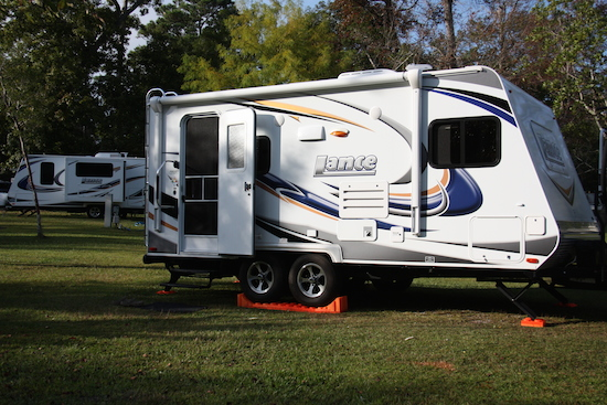 Two Lance trailers in the Water Edge RV Park
