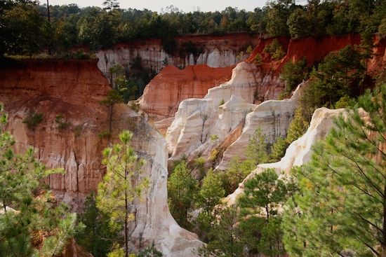 Providence Canyon State Park has no camping options for trailers, so Florence Marina State Park is the closest option.
