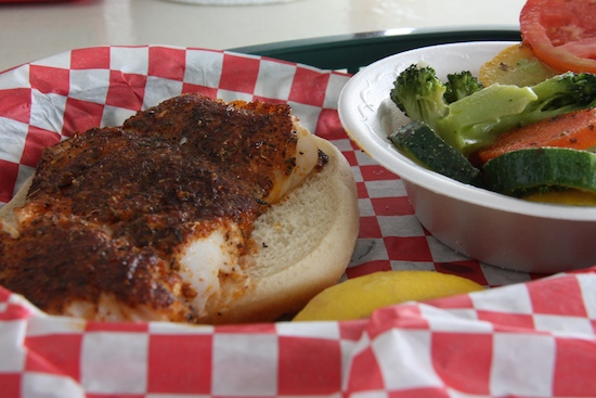 We both wanted a blackened grouper sandwich so we stopped at the Blue Parrot for lunch one day. Locally owned and according to a local, local fish, which is not always guaranteed - always ask at any seafood restaurant anywhere.