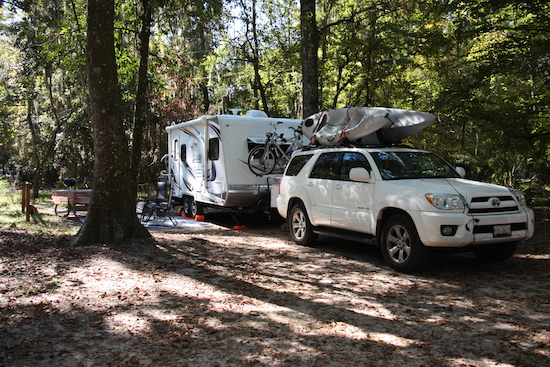 After 4000 miles, our final camp at Manatee Springs State Park, Chiefland FL