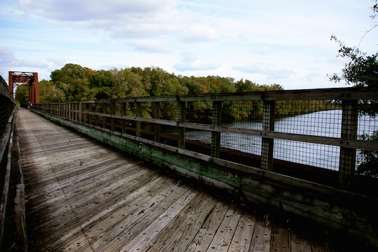 The old Suwanee River railroad bridge now turned into part of the Nature Coast Bike Trail.