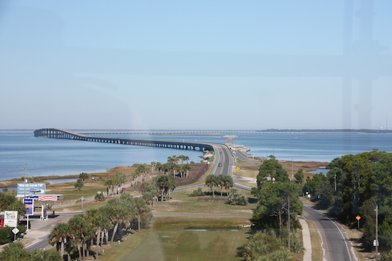 360 degree panoramas greet you from the top - this is the view toward the 4 mile bridge connecting St George Island to the panhandle.