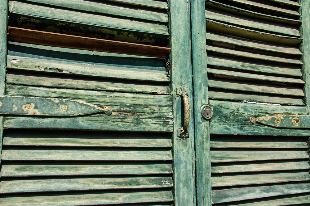 Wooden shutters and more wooden shutters .. doors, windows, everywhere.