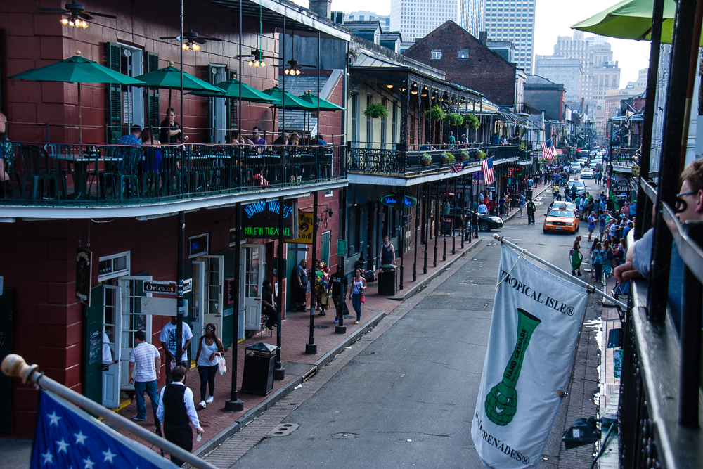 Royal Street or Frenchmen Street may be better for music, but Bourbon Street has it all for people watching - especially from a balcony while sipping wine!