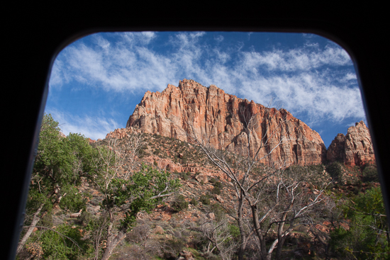 Watchman Mountain, Zion Nat'l Park - the view out my screen door -- and kitchen window too! :)