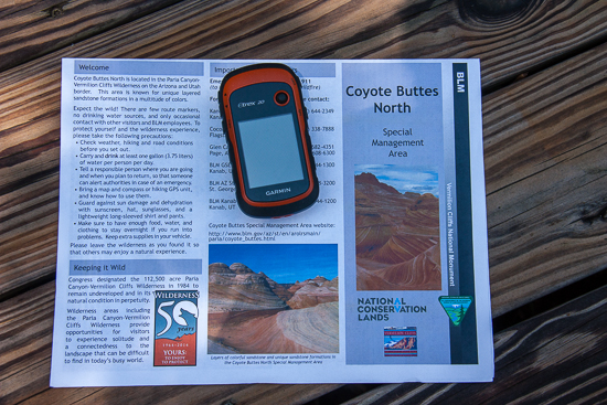 The brochure you'll receive from the BLM - also our little Garmin hiking GPS. Turned out, we didn't have any trouble, but the terrain was so similar that we were glad to have the reassurance that we were close to the right track as we explored.