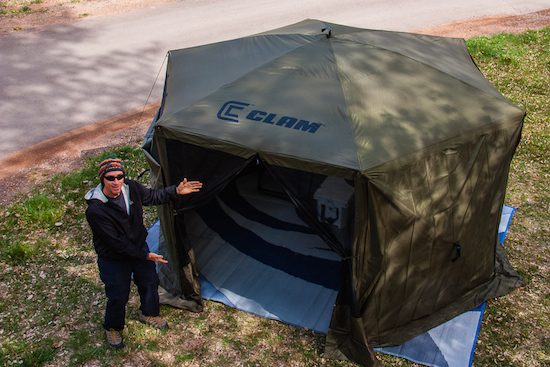 """Our Clam Enclosure, sides down, RV """"carpet"""" down for cool weather camping."""