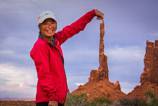 Our Navajo Spirit Tour Guide, Don, took a photo with me and a spire - I love this photo!