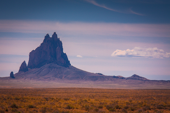 Shiprock in the distance.