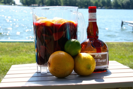 Chilled Sangria tasting really good on a hot summer afternoon!