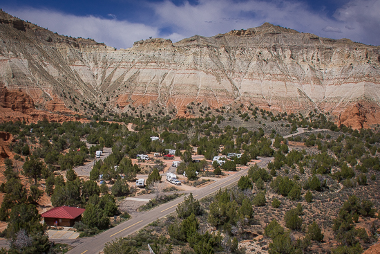 Kodachrome Basin State Park - should have reserved a spot sooner. 24 degrees, generator hours 12 - 4 PM - while we're gone, and 24 degrees at night. Batteries dead. :(