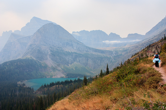 Lower Grinnell Lake was stunning even through the smoke.