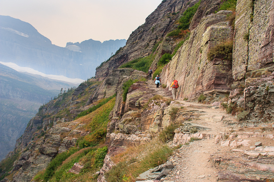 A typical hike in the mountains of Glacier National Park