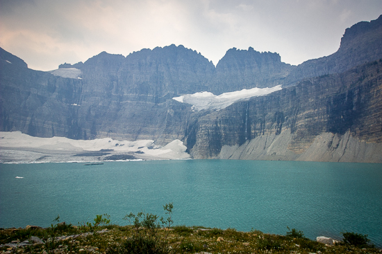 Grinnell Glacier - the glacier is shrinking, but the lake and view is still gorgeous, even with the smoke making it less than clear.