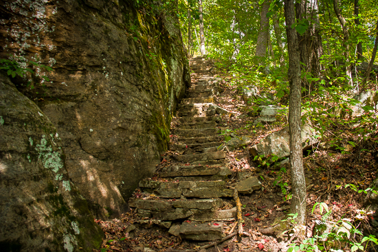 The stone stairway leading out of the gorge from the Natural Bridge.