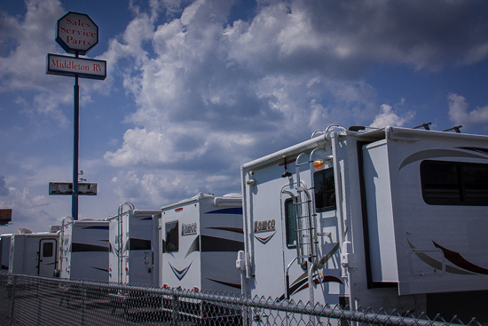 New Lance campers await new owners on the front line at Middleton RV!