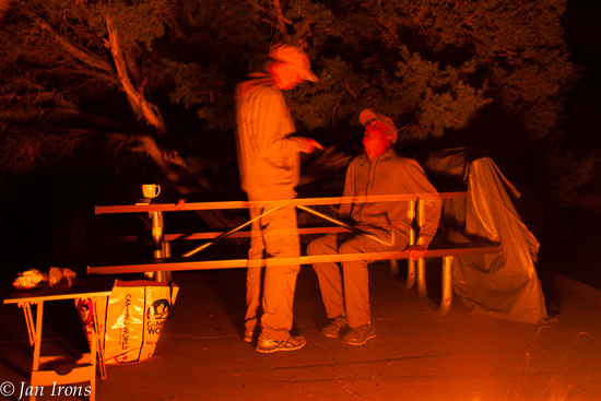 Fun at the fire - put the camera on the tripod, hold the shutter open, block it with a black card while David moves, then take the card away to complete the photo. We never got good sharp photos, but it was fun playing!