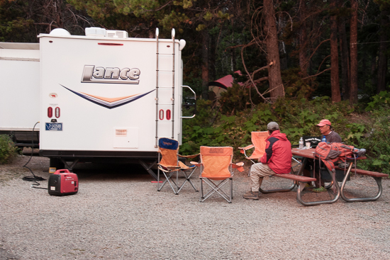 Many Glacier Campsite with our friends Lance 1885 travel trailer.