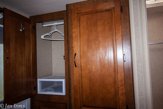Most of the hanging clothes didn't reach the bottom of this closet, so we added a free standing pull out drawer to house socks, underwear and swimsuits.