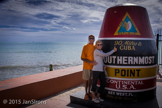 Look! It's 90 miles to Havana, Cuba from the Southernmost Point in Key West!