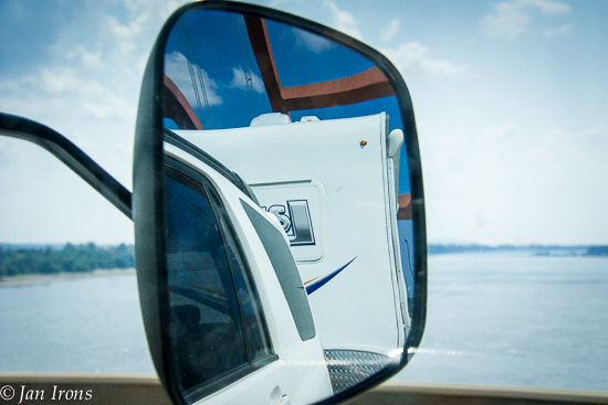 The Mississippi River Bridge in our towing mirrors.