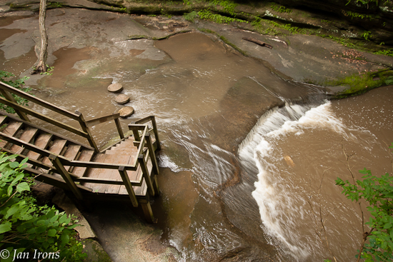 Stairway down into the canyons and hiking steps strategically placed in the streambeds in Matthiessen State Park.