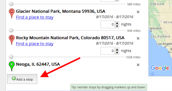"To add a pin, click ""Add A Stop"" and type in what you want - usually typing in a National or State Park works without using the city, sometimes you need to add the city."