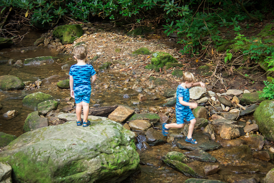 Our grandsons loved playing in the creek, no trips to the playground on this trip!