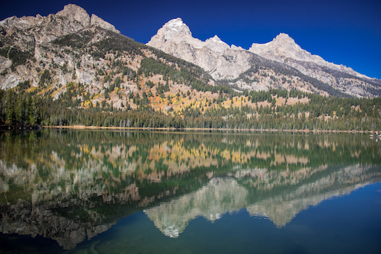Reflections of the Tetons in Taggart Lake