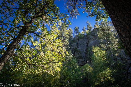 Towering rock face on the other side of the creek - this is the view from my chair in the campsite.
