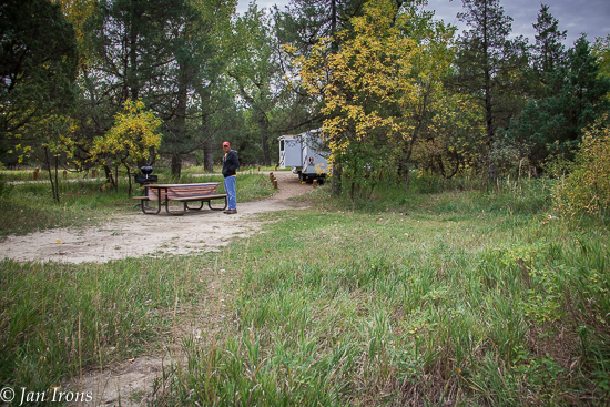 View through our campground from the trail by the river